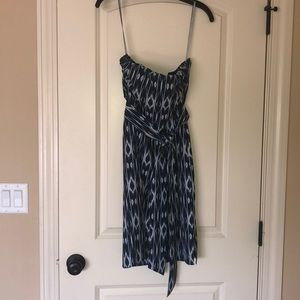 Athleta strapless blue and white dress - m